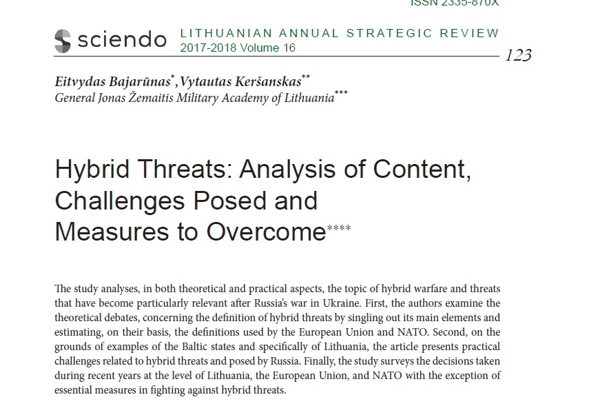 HYBRID THREATS: ANALYSIS OF CONTENT, CHALLENGES