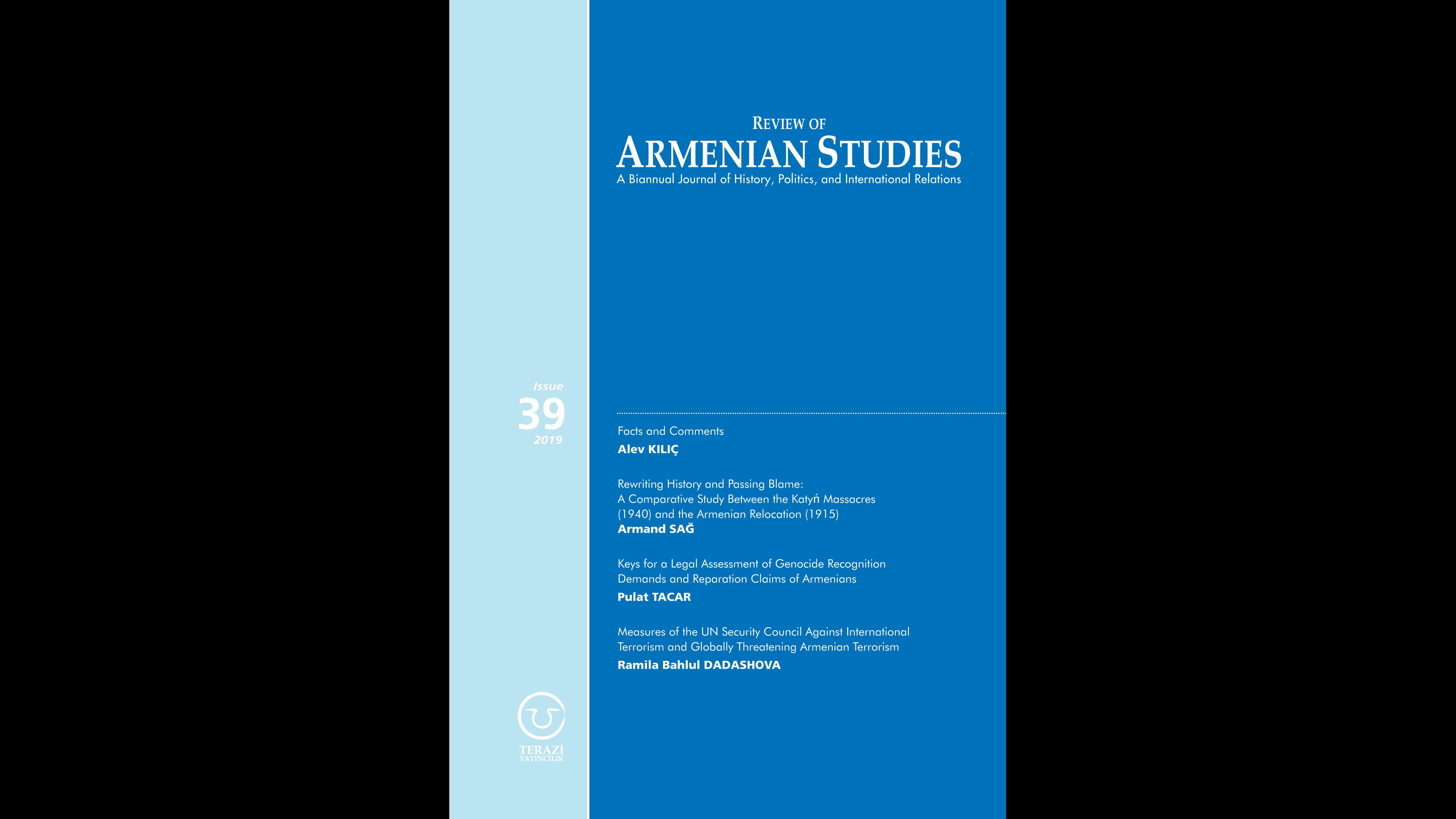 DUYURU: REVIEW OF ARMENIAN STUDIES DERGİSİNİN 39'UNCU SAYISI YAYINLANDI